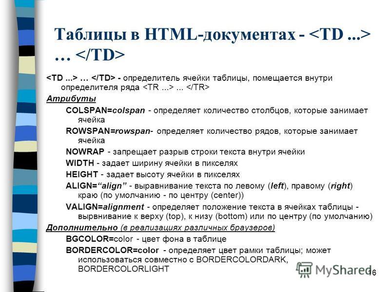 16 Таблицы в HTML-документах - … … - определитель ячейки таблицы, помещается внутри определителя ряда... Атрибуты COLSPAN=colspan - определяет количество столбцов, которые занимает ячейка ROWSPAN=rowspan- определяет количество рядов, которые занимает