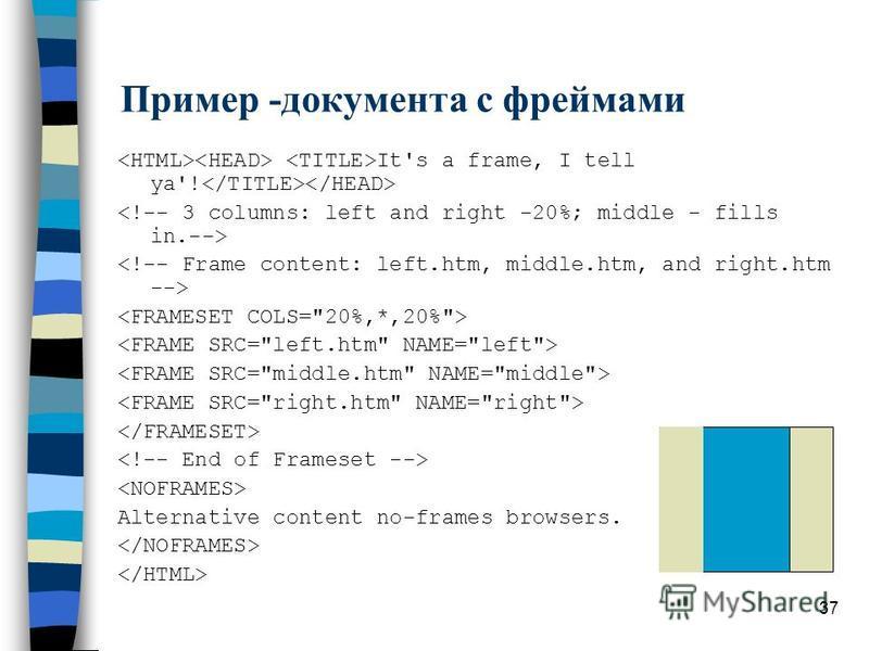 37 Пример -документа с фреймами It's a frame, I tell ya'! Alternative content no-frames browsers.