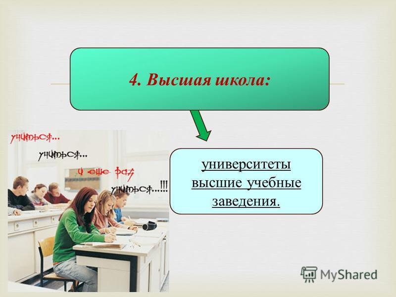 4. Высшая школа: университеты высшие учебные заведения.