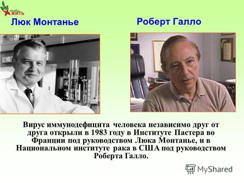 Люк Монтанье Роберт Галло Вирус иммуноддефицита человека независимо друг от друга открыли в 1983 году в Институте Пастера во Франции под руководством Люка Монтанье, и в Национальном институте рака в США под руководством Роберта Галло.