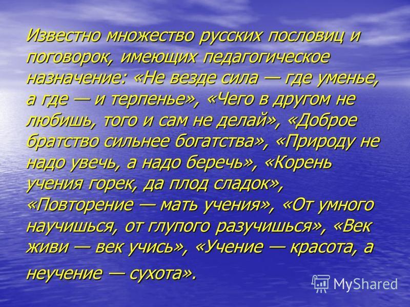 Известно множество русских пословиц и поговорок, имеющих педагогическое назначение: «Не везде сила где уменье, а где и терпенье», «Чего в другом не любишь, того и сам не делай», «Доброе братство сильнее богатства», «Природу не надо увечь, а надо бере