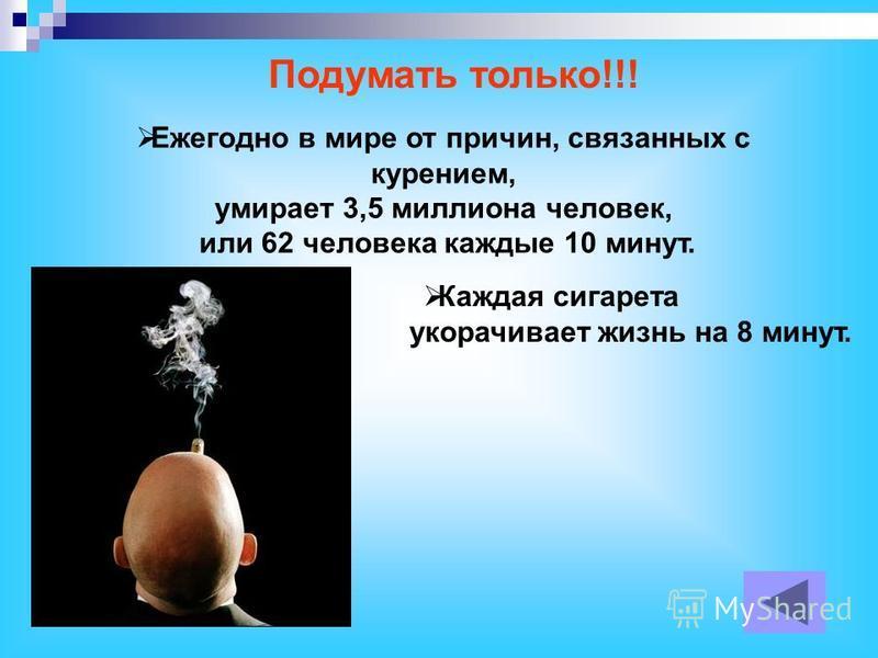 Ежегодно в мире от причин, связанных с курением, умирает 3,5 миллиона человек, или 62 человека каждые 10 минут. Подумать только!!! Каждая сигарета укорачивает жизнь на 8 минут.