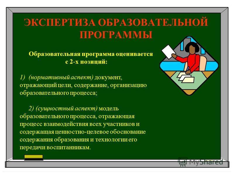ЭКСПЕРТИЗА ОБРАЗОВАТЕЛЬНОЙ ПРОГРАММЫ Образовательная программа оценивается с 2-х позиций: 1)(нормативный аспект) документ, отражающий цели, содержание, организацию образовательного процесса; 2) (сущностный аспект) модель образовательного процесса, от