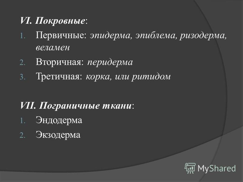 VI. Покровные: 1. Первичные: эпидерма, эпиблема, ризодерма, веламен 2. Вторичная: перидерма 3. Третичная: корка, или ритидом VII. Пограничные ткани: 1. Эндодерма 2. Экзодерма