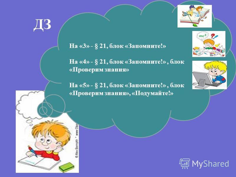ДЗ На «3» - § 21, блок «Запомните!» На «4» - § 21, блок «Запомните!», блок «Проверим знания» На «5» - § 21, блок «Запомните!», блок «Проверим знания», «Подумайте!»