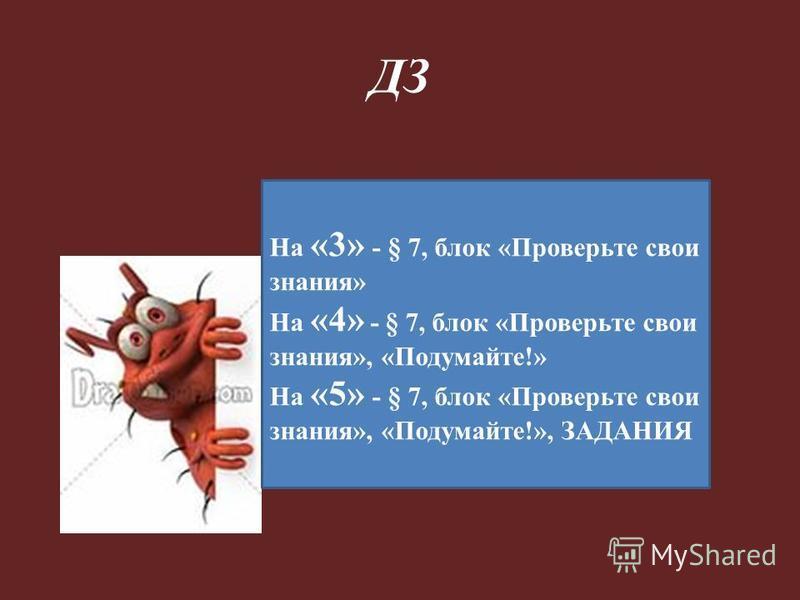 ДЗ На «3» - § 7, блок «Проверьте свои знания» На «4» - § 7, блок «Проверьте свои знания», «Подумайте!» На «5» - § 7, блок «Проверьте свои знания», «Подумайте!», ЗАДАНИЯ