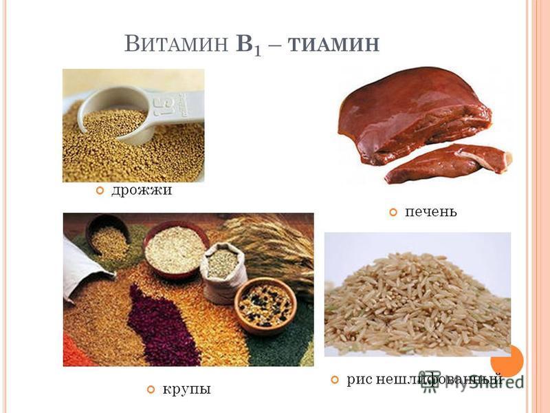 В ИТАМИН В 1 – ТИАМИН дрожжи печень крупы рис нешлифованный