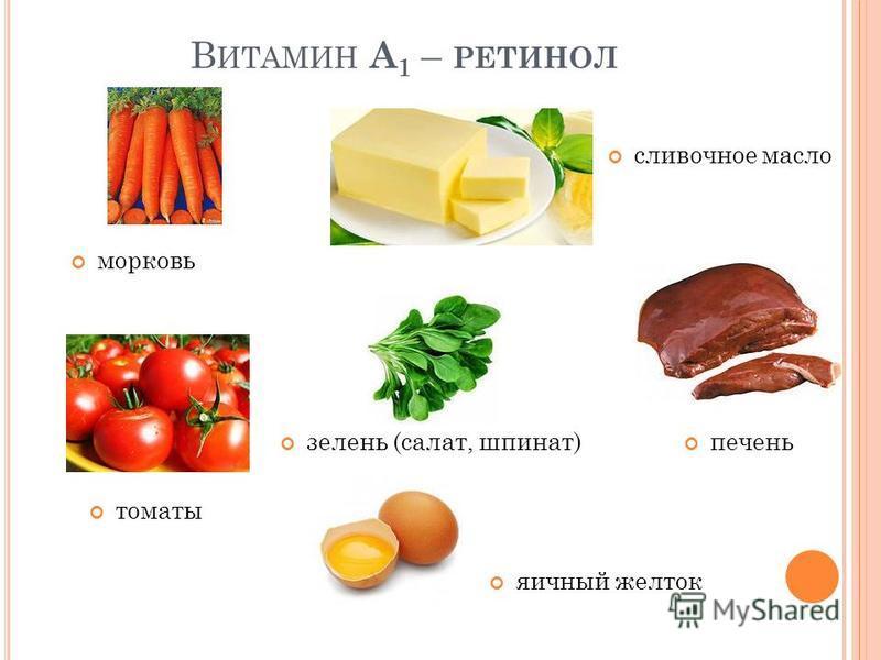 В ИТАМИН А 1 – РЕТИНОЛ морковь зелень (салат, шпинат) томаты сливочное масло печень яичный желток