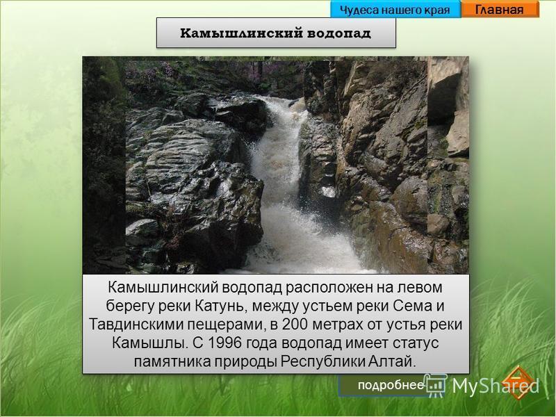 Главная подробнее Камышлинский водопад Камышлинский водопад расположен на левом берегу реки Катунь, между устьем реки Сема и Тавдинскими пещерами, в 200 метрах от устья реки Камышлы. С 1996 года водопад имеет статус памятника природы Республики Алтай