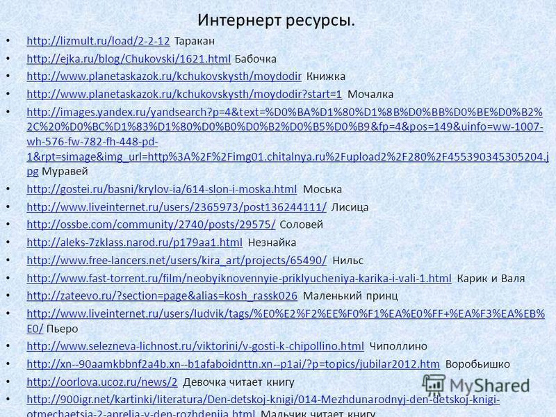 Интернерт ресурсы. http://www.chitalnya.ru/board/2012-09-23/28/ Емеля http://www.chitalnya.ru/board/2012-09-23/28/ http://michutka.3dn.ru/load/fizkultura_dlja_malyshej/sportivnye_prazdniki/fizkulturnyj_praz dnik_prikljuchenie_buratino_dlja_detej_6_7_