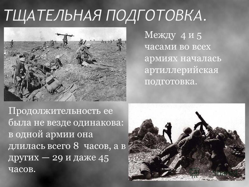 Между 4 и 5 часами во всех армиях началась артиллерийская подготовка. Продолжительность ее была не везде одинакова: в одной армии она длилась всего 8 часов, а в других 29 и даже 45 часов.