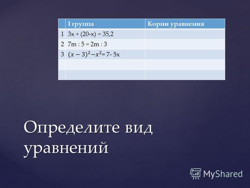 I группа Корни уравнения 13x + (20-x) = 35,2 27m : 5 = 2m : 3 3 Определите вид уравнений
