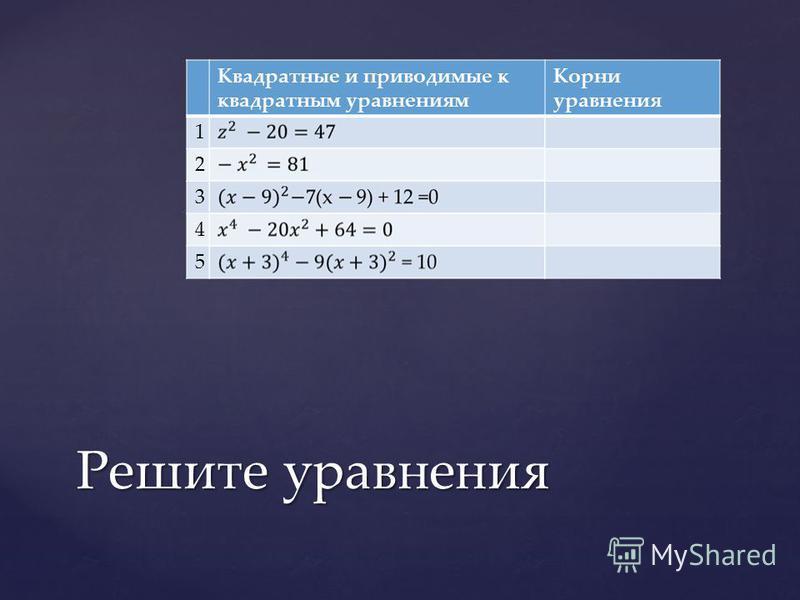 Квадратные и приводимые к квадратным уравнениям Корни уравнения 1 2 3 4 5 Решите уравнения