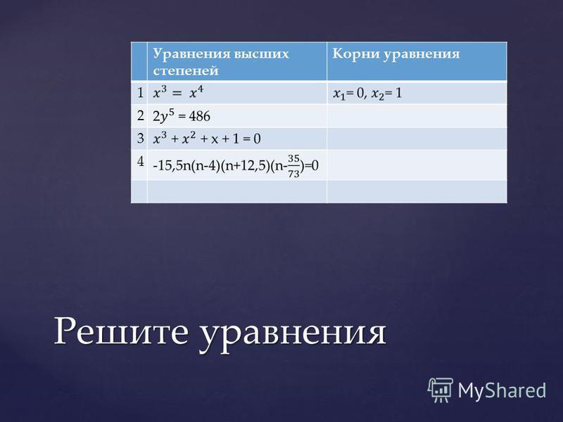 Уравнения высших степеней Корни уравнения 1 2 3 4 Решите уравнения