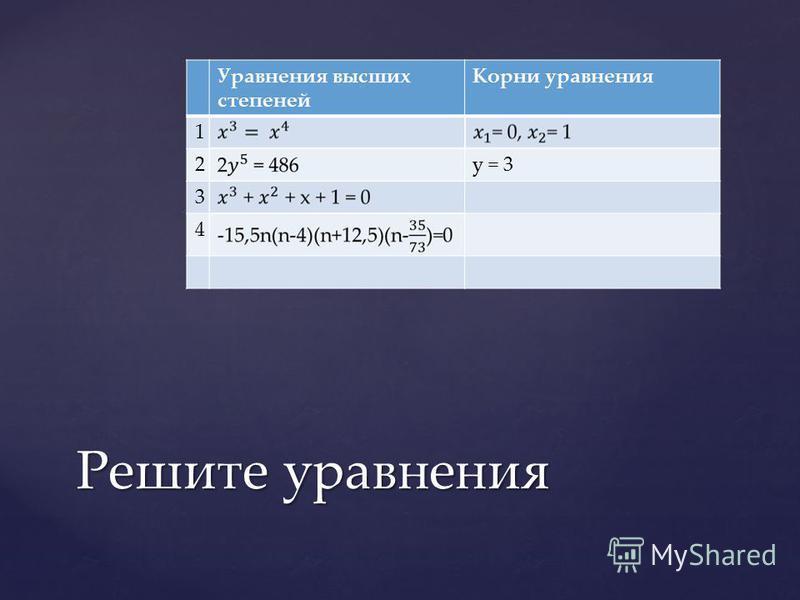 Уравнения высших степеней Корни уравнения 1 2y = 3 3 4 Решите уравнения