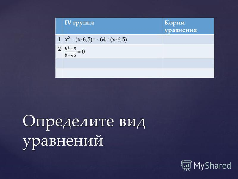 IV группа Корни уравнения 1 2 Определите вид уравнений