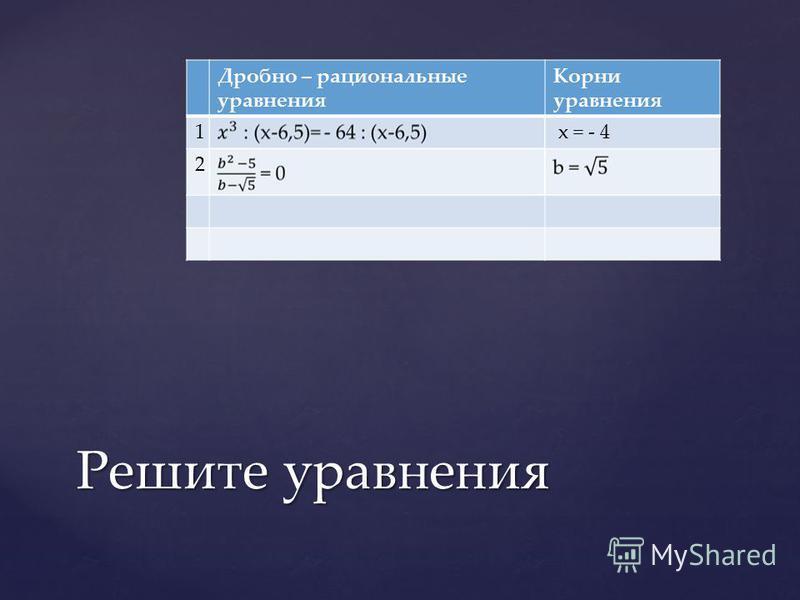 Дробно – рациональные уравнения Корни уравнения 1 x = - 4 2 Решите уравнения