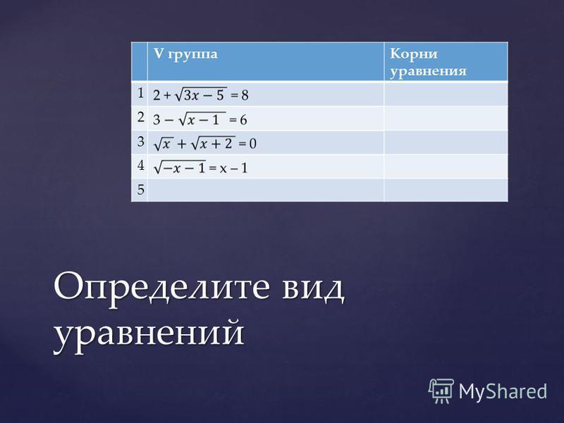 V группа Корни уравнения 1 2 3 4 5 Определите вид уравнений
