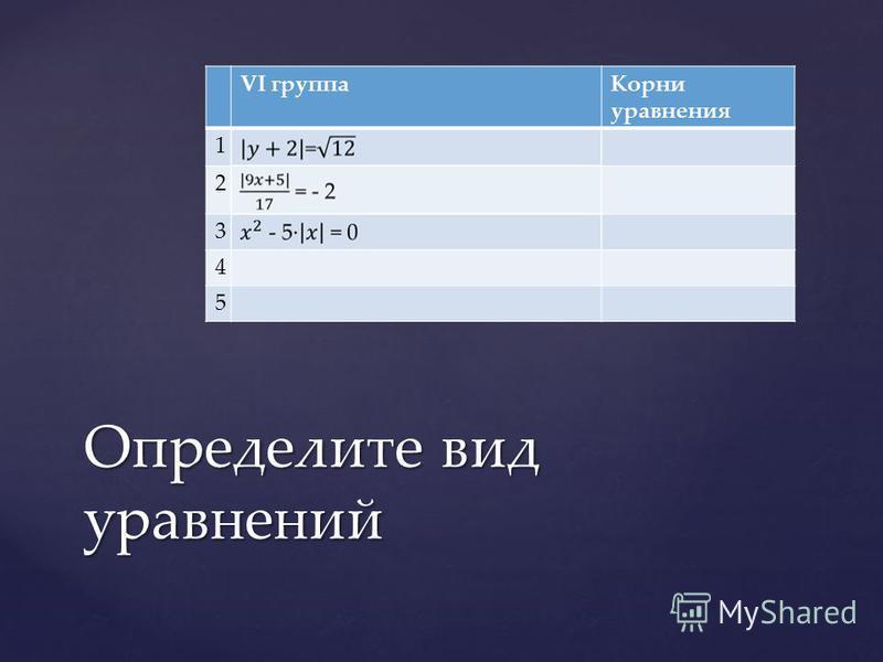 VI группа Корни уравнения 1 2 3 4 5 Определите вид уравнений