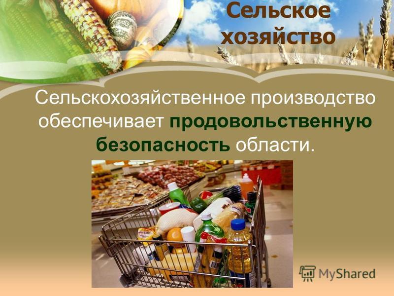 Сельское хозяйство Сельскохозяйственное производство обеспечивает продовольственную безопасность области.