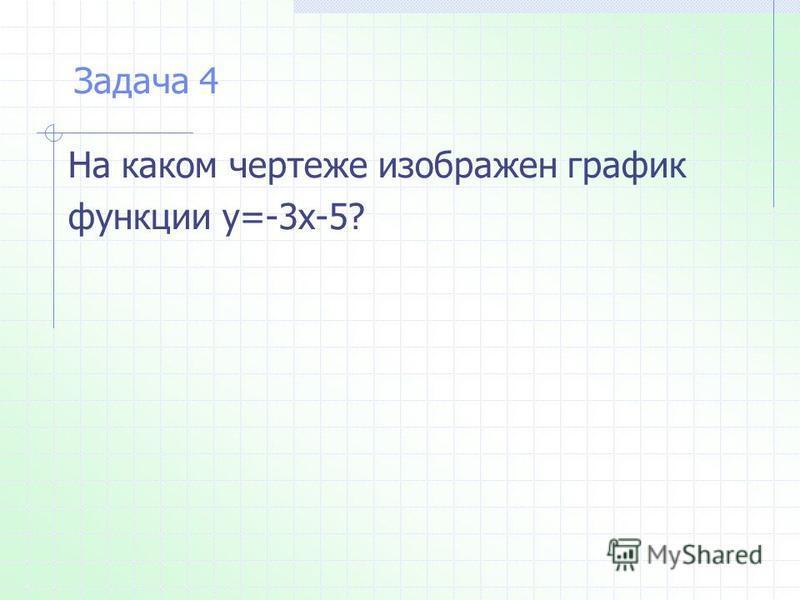 На каком чертеже изображен график функции у=-3 х-5? Задача 4