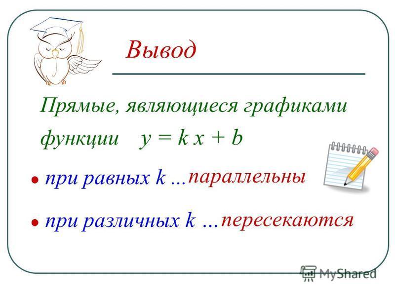 Вывод при различных k … при равных k... Прямые, являющиеся графиками функции у = k x + b пересекаются параллельны