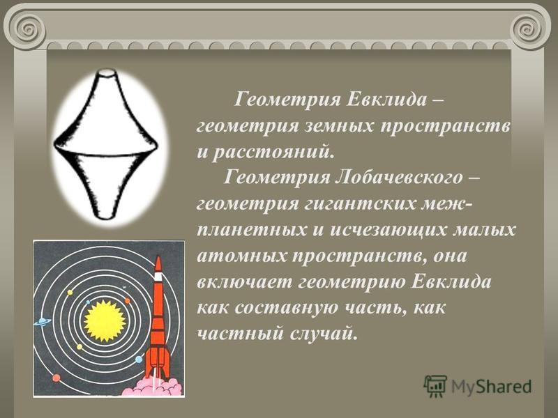 Геометрия Евклида – геометрия земных пространств и расстояний. Геометрия Лобачевского – геометрия гигантских меж- планетных и исчезающих малых атомных пространств, она включает геометрию Евклида как составную часть, как частный случай.