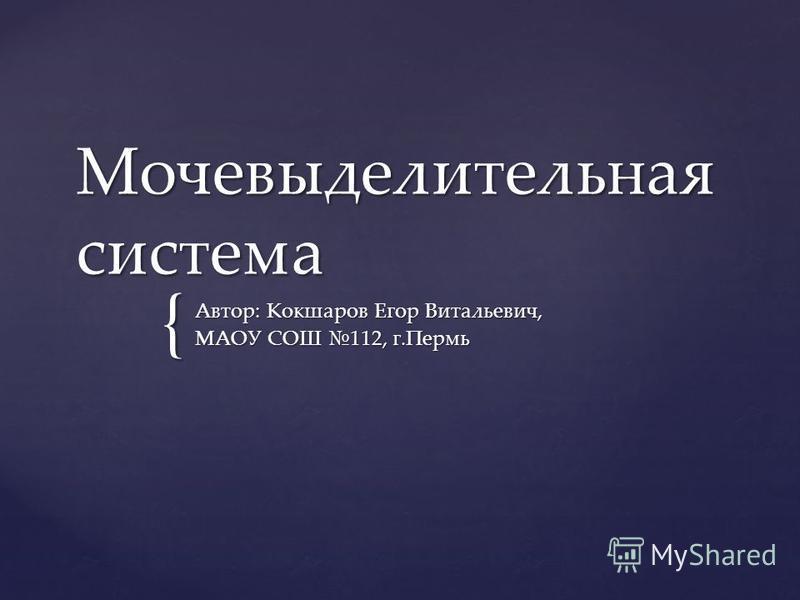 { Мочевыделительная система Автор: Кокшаров Егор Витальевич, МАОУ СОШ 112, г.Пермь