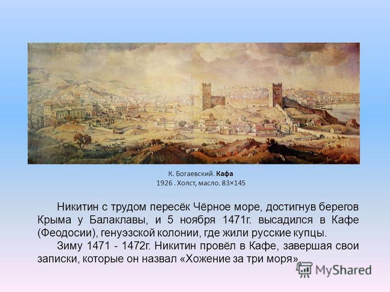 Никитин с трудом пересёк Чёрное море, достигнув берегов Крыма у Балаклавы, и 5 ноября 1471 г. высадился в Кафе (Феодосии), генуэзской колонии, где жили русские купцы. Зиму 1471 - 1472 г. Никитин провёл в Кафе, завершая свои записки, которые он назвал