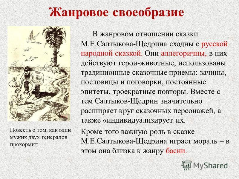 Жанровое своеобразие В жанровом отношении сказки М.Е.Салтыкова-Щедрина сходны с русской народной сказкой. Они аллегоричны, в них действуют герои-животные, использованы традиционные сказочные приемы: зачины, пословицы и поговорки, постоянные эпитеты,
