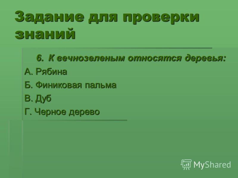 Задание для проверки знаний 6. К вечнозеленым относятся деревья: 6. К вечнозеленым относятся деревья: А. Рябина Б. Финиковая пальма В. Дуб Г. Черное дерево
