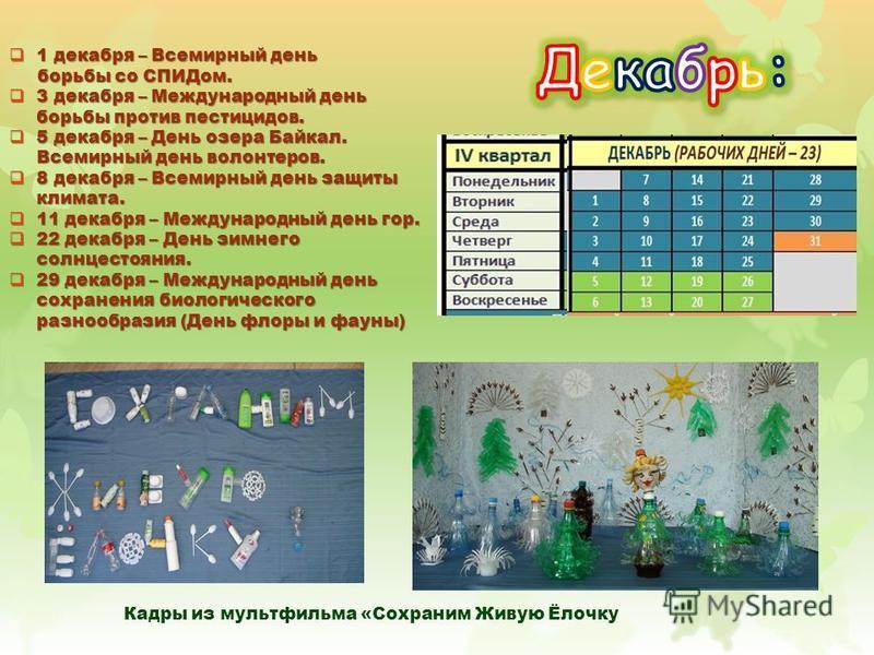 1 декабря – Всемирный день 1 декабря – Всемирный день борьбы со СПИДом. борьбы со СПИДом. 3 декабря – Международный день борьбы против пестицидов. 3 декабря – Международный день борьбы против пестицидов. 5 декабря – День озера Байкал. Всемирный день