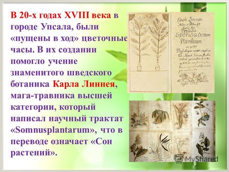В 20-х годах XVIII века в городе Упсала, были «пущены в ход» цветочные часы. В их создании помогло учение знаменитого шведского ботаника Карла Линнея, мага-травника высшей категории, который написал научный трактат «Somnusplantarum», что в переводе о