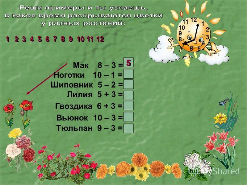 12 1 2 3 4 56 7 8 9 10 11 Мак 8 – 3 = Ноготки 10 – 1 = Шиповник 5 – 2 = Лилия 5 + 3 = Гвоздика 6 + 3 = Вьюнок 10 – 3 = Тюльпан 9 – 3 = 2 2 1 1 3 3 4 4 5 5 6 6 7 7 8 8 9 9 11 10 12