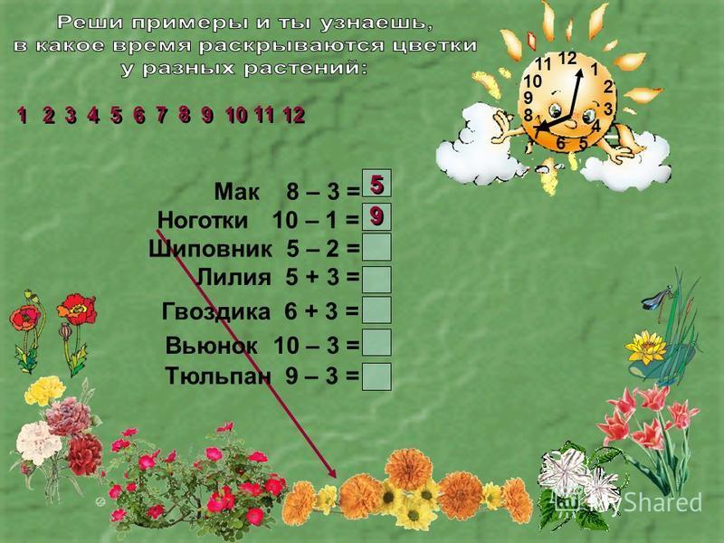 1 2 3 4 56 7 8 9 10 11 Мак 8 – 3 = Ноготки 10 – 1 = Шиповник 5 – 2 = Лилия 5 + 3 = Гвоздика 6 + 3 = Вьюнок 10 – 3 = Тюльпан 9 – 3 = 2 2 1 1 3 3 4 4 5 5 6 6 7 7 8 8 9 9 11 10 12 5 5