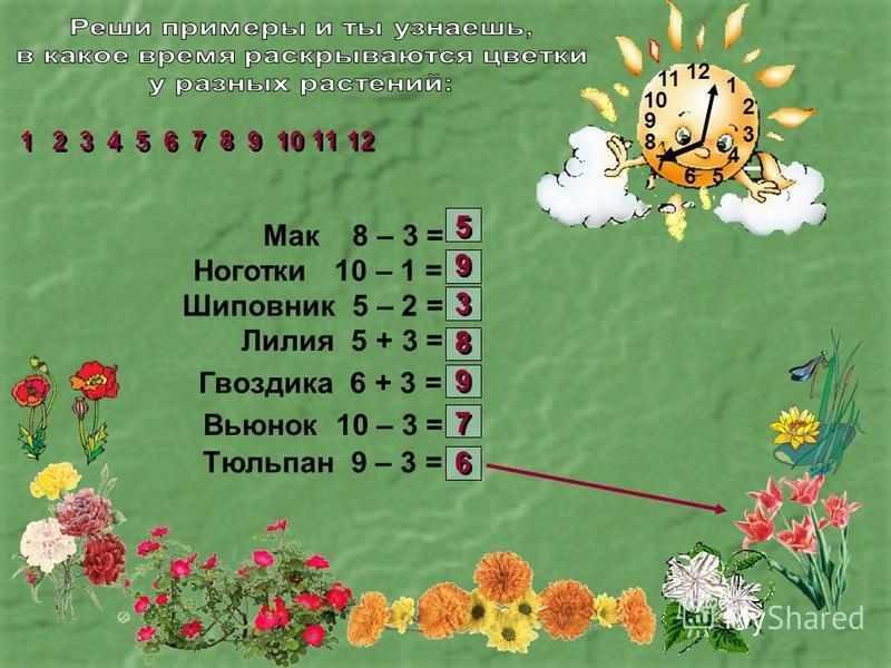 1 2 3 4 56 7 8 9 10 11 Мак 8 – 3 = Ноготки 10 – 1 = Шиповник 5 – 2 = Лилия 5 + 3 = Гвоздика 6 + 3 = Вьюнок 10 – 3 = Тюльпан 9 – 3 = 2 2 1 1 3 3 4 4 5 5 6 6 7 7 8 8 9 9 11 10 12 5 5 9 9 3 3 8 8 9 9 7 7