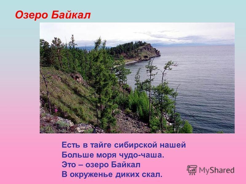 Озеро Байкал Есть в тайге сибирской нашей Больше моря чудо-чаша. Это – озеро Байкал В окруженье диких скал.