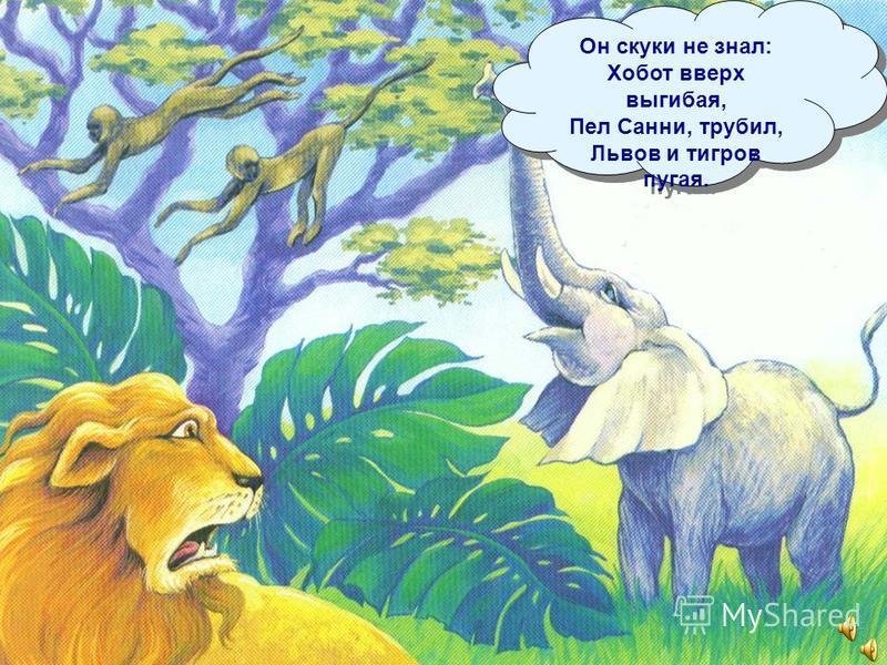 Траву и листву ел, Кору и лианы, Но больше всего Обожал он бананы. Траву и листву ел, Кору и лианы, Но больше всего Обожал он бананы.