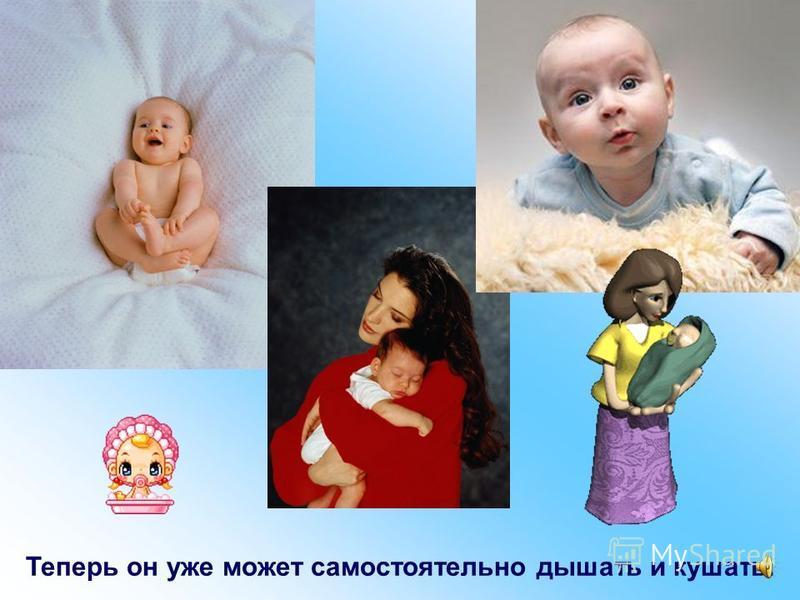 Когда малыш еще немного подрастает и набирается сил, ему становится в мамином животике тесно. И он выбирается наружу – рождается.