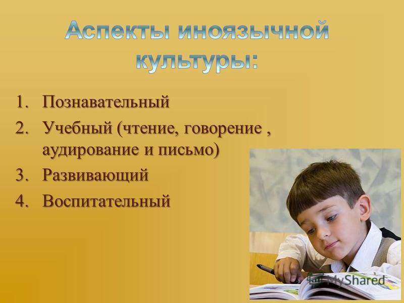 1. Познавательный 2. Учебный (чтение, говорение, аудирование и письмо) 3. Развивающий 4. Воспитательный