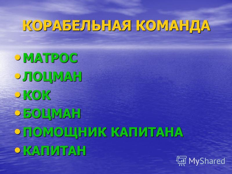 КОРАБЕЛЬНАЯ КОМАНДА МАТРОС МАТРОС ЛОЦМАН ЛОЦМАН КОК КОК БОЦМАН БОЦМАН ПОМОЩНИК КАПИТАНА ПОМОЩНИК КАПИТАНА КАПИТАН КАПИТАН