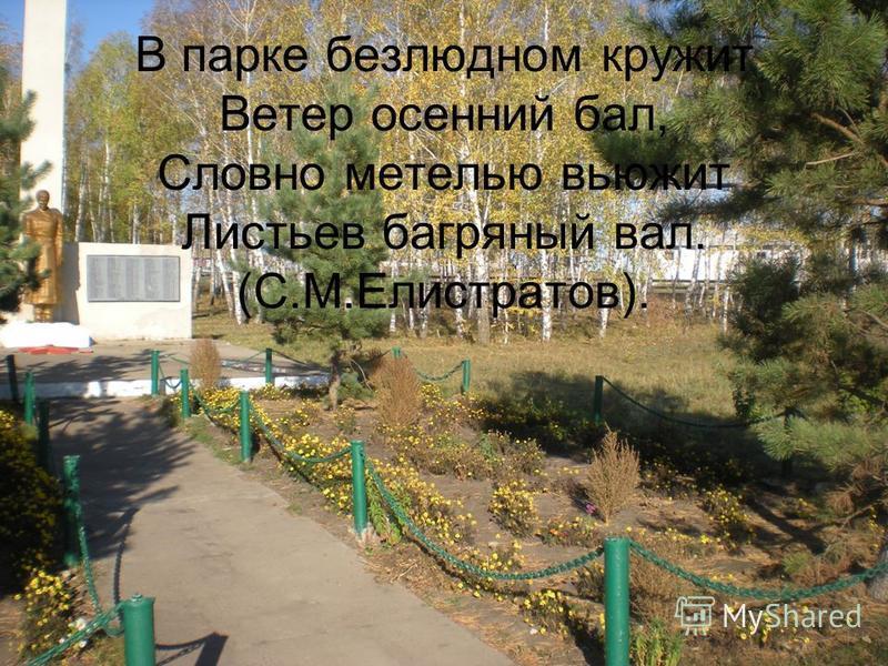 В парке безлюдном кружит Ветер осенний бал, Словно метелью вьюжит Листьев багряный вал. (С.М.Елистратов).