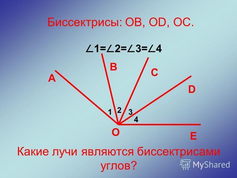 Какие лучи являются биссектрисами углов? 1 1= 2= 3= 4 2 3 4 А В С D Е О Биссектрисы: ОВ, ОD, ОС.