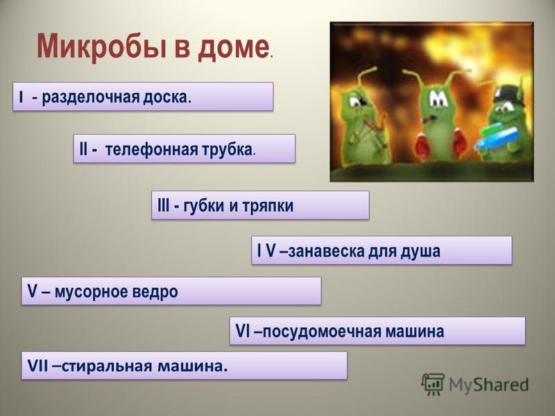 Микробы в доме. I - разделочная доска. II - телефонная трубка. III - губки и тряпки I V –занавеска для душа V – мусорное ведро VI –посудомоечная машина VII –стиральная машина.