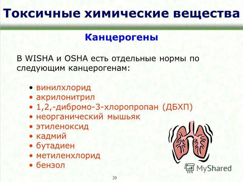 Токсичные химические вещества Канцерогены В WISHA и OSHA есть отдельные нормы по следующим канцерогенам: винилхлорид акрилонитрил 1,2,-дибромо-3-хлоропропан (ДБХП) неорганический мышьяк этиленоксид кадмий бутадиен метиленхлорид бензол 20
