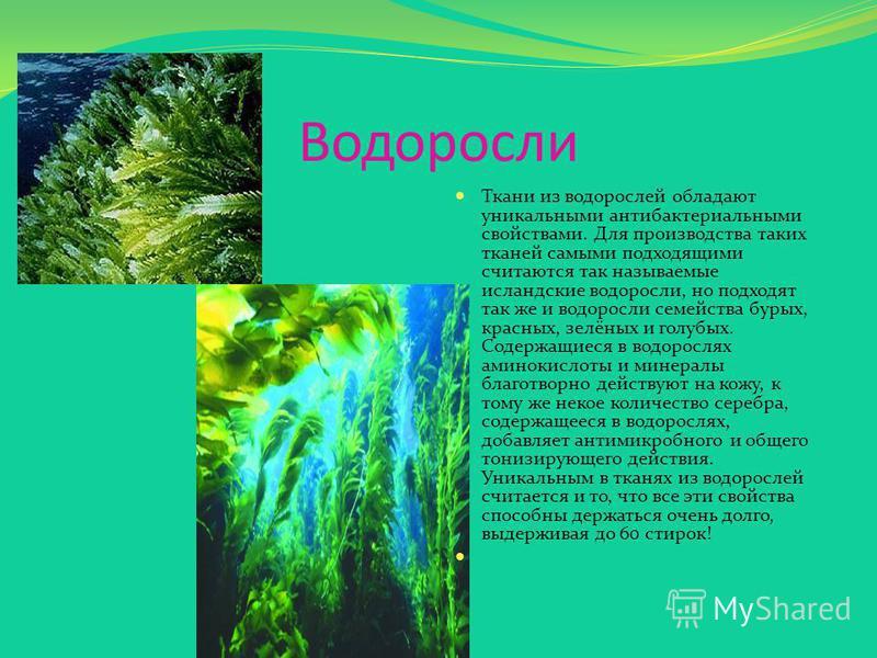 Водоросли Ткани из водорослей обладают уникальными антибактериальными свойствами. Для производства таких тканей самыми подходящими считаются так называемые исландские водоросли, но подходят так же и водоросли семейства бурых, красных, зелёных и голуб