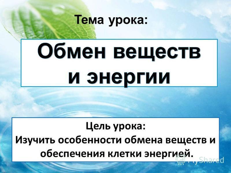 Тема урока: Цель урока: Изучить особенности обмена веществ и обеспечения клетки энергией.