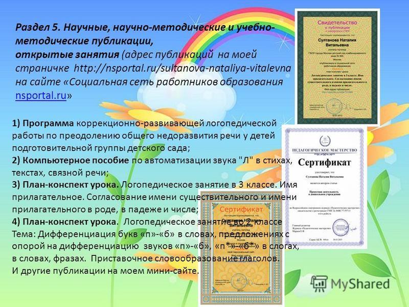 7 Раздел 5. Научные, научно-методические и учебно- методические публикации, открытые занятия (адрес публикаций на моей страничке http://nsportal.ru/sultanova-nataliya-vitalevna на сайте «Социальная сеть работников образования nsportal.ru» nsportal.ru
