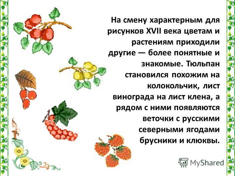 На смену характерным для рисунков XVII века цветам и растениям приходили другие более понятные и знакомые. Тюльпан становился похожим на колокольчик, лист винограда на лист клена, а рядом с ними появляются веточки с русскими северными ягодами брусник