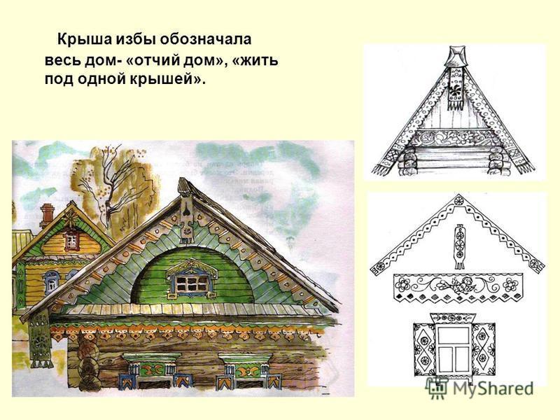 Крыша избы обозначала весь дом- «отчий дом», «жить под одной крышей».